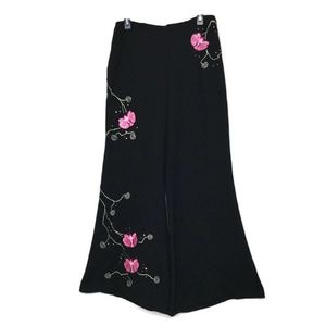 Cache Embellished Wide-leg Floral Pants